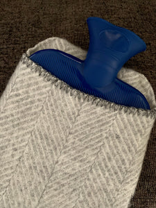 Hot Water Bottle- Silver Herringbone