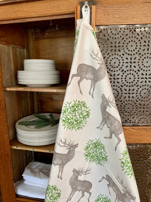 Mistletoe & Stag Tea Towel by Thornback & Peel