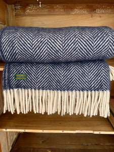 Navy Pure New Wool Herringbone Throw by Tweedmill Textiles