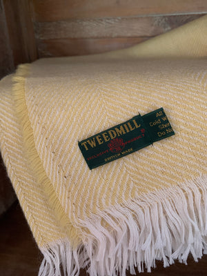 Tweedmill Lightweight Wool Herringbone Throw- Sunshine Yellow