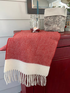 Red and white herringbone lambswool scarf by Tweedmill Textiles