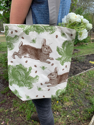 Rabbit & Cabbage Tote Bag by Thornback & Peel