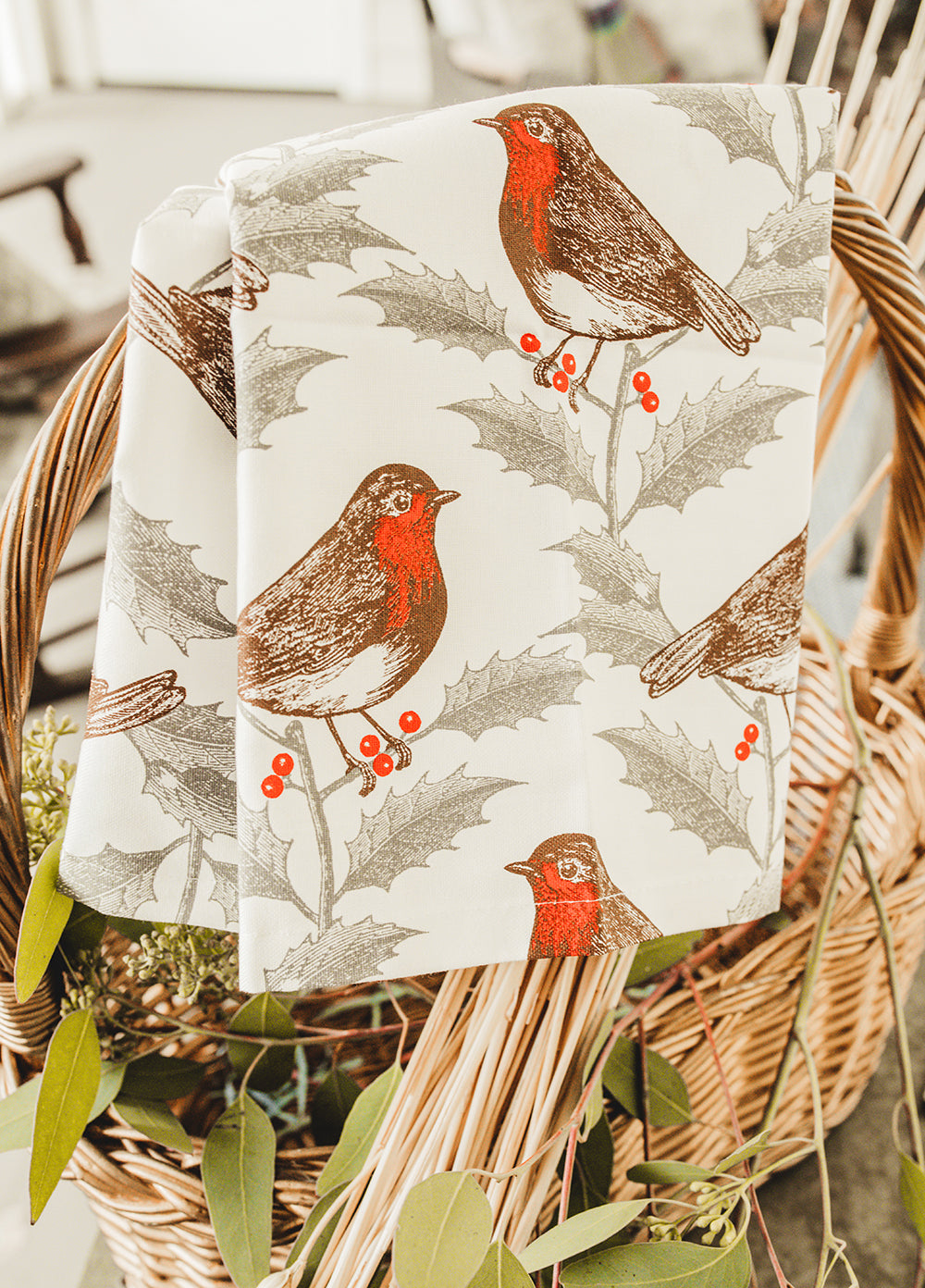 Robin & Holly Tea Towel by Thornback & Peel