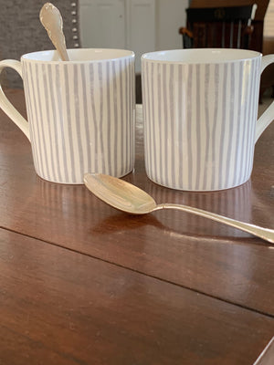 Briton Home fine bone china mugs, grey and white stripe, by Sam Wilson, made in England
