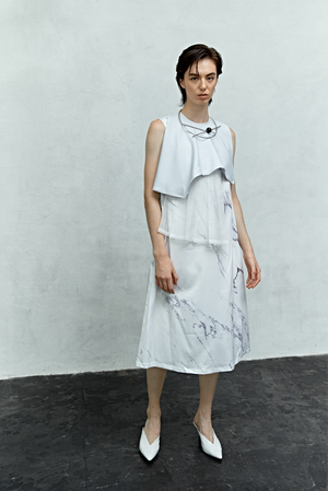 Air Layered Pleated Dress / White Marble