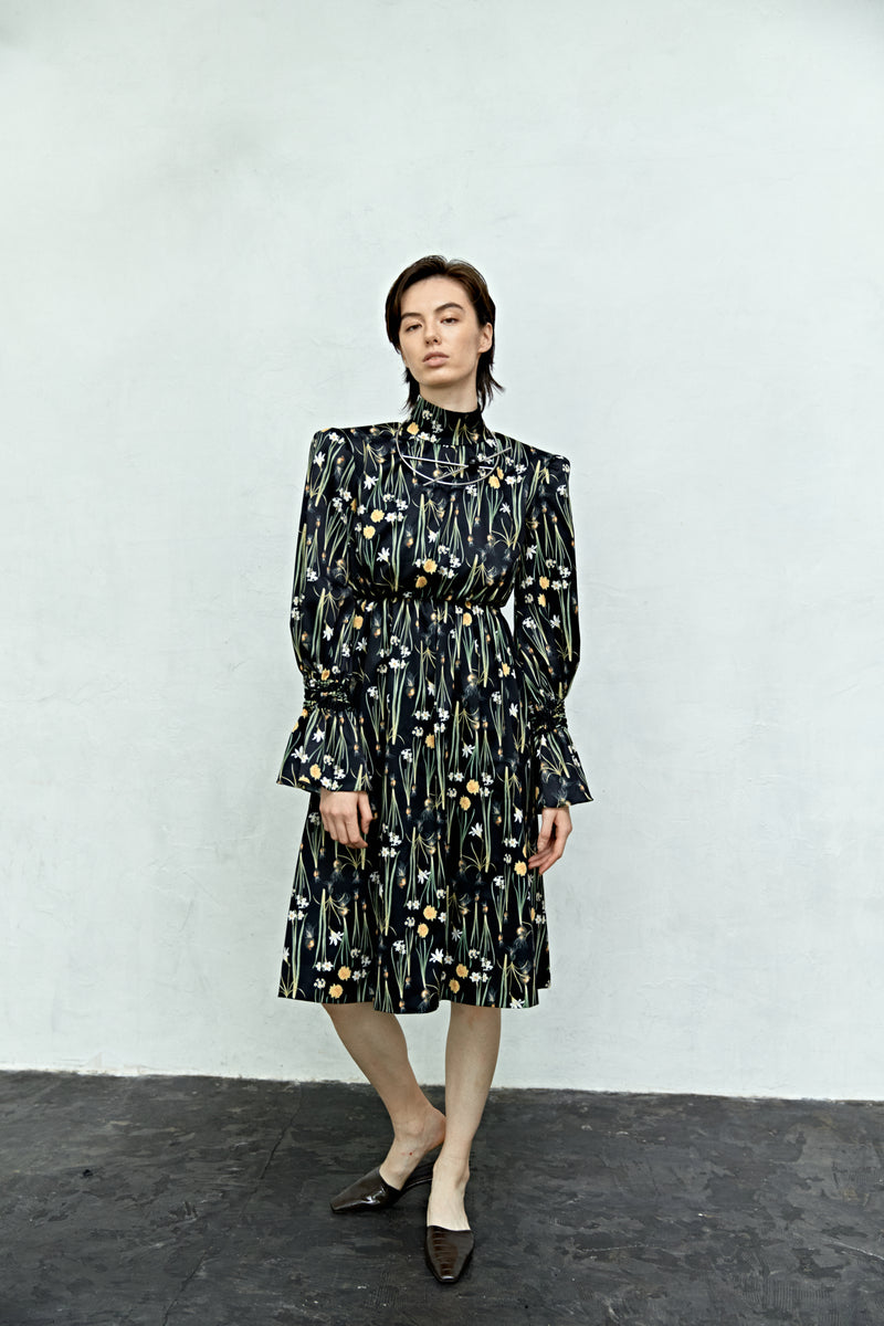 Flower Bias Long Sleeve Dress