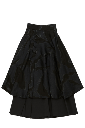 Air Layered Jacquard Lace-Up Skirt