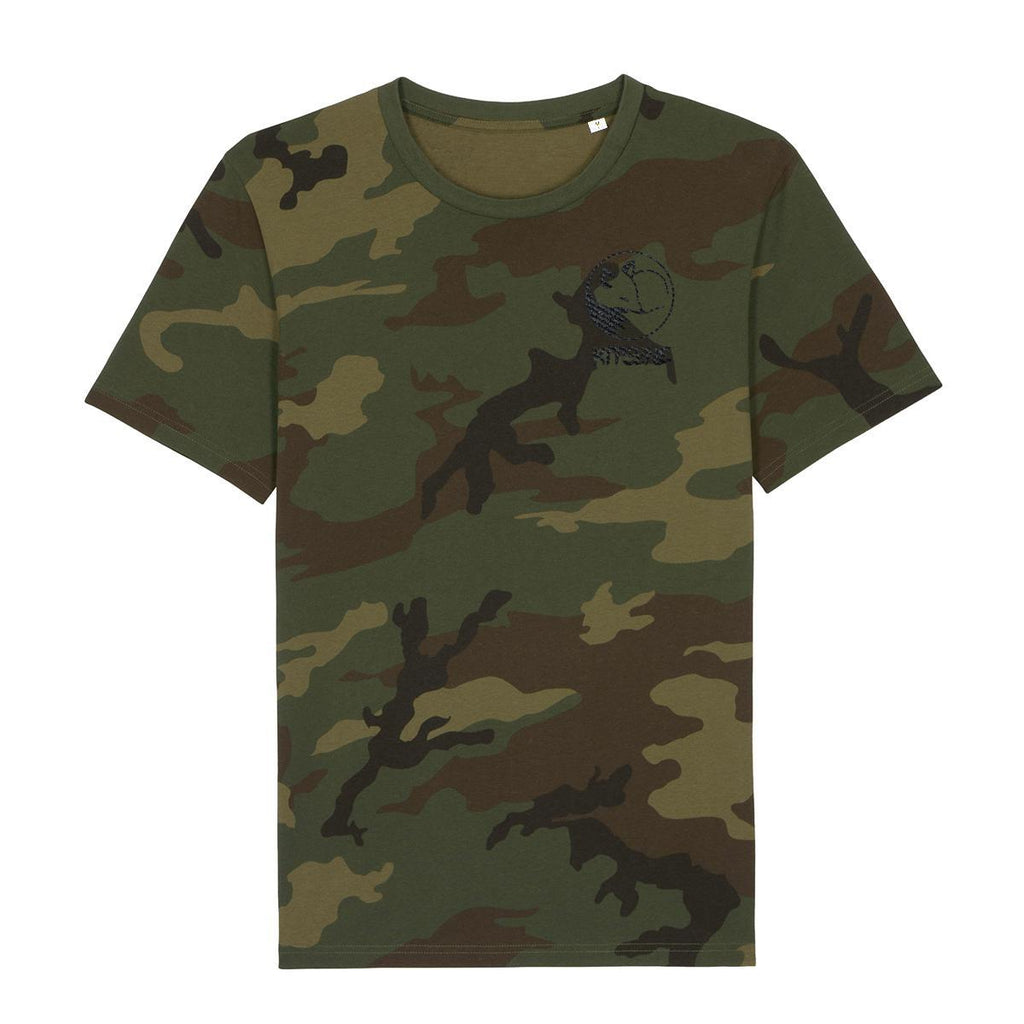 Kitsune Logo Embroidered Camouflage T-Shirt-Clothing-Kitsune Clothing UK Ltd
