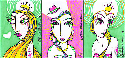 ACEO Originals - 3 Card SET - LEELA, JUANITA, & MEELA - Desiree Finkbeiner