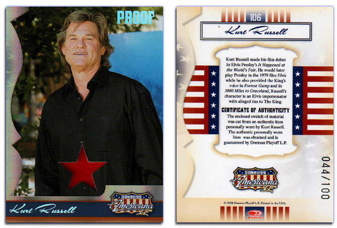 Americana - Series 2 - Kurt Russell Material Silver Foil Proof Card #044/100