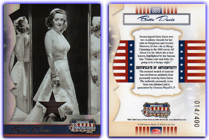 Americana - Series 2 - Bette Davis Material Silver Foil Proof Card #014/400