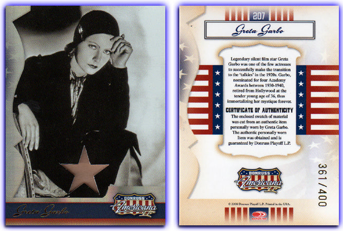 Americana - Series 2 - Greta Garbo Material Silver Foil Proof Card #361/400