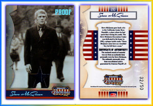 Americana - Series 2 - Steve McQueen Material (Pinstripe Suit) Silver Foil Proof Card #32/50