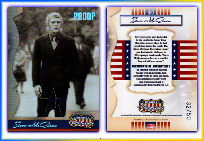 Americana 2 - Steve McQueen Material (Pinstripe Suit) Silver Foil Proof Card #32/50