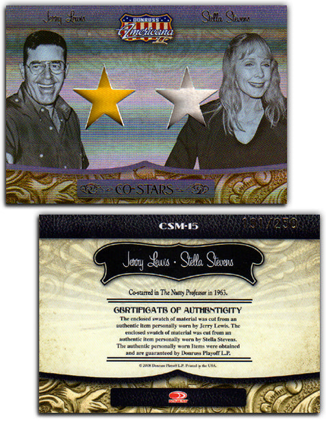 Americana - Series 2 - Jerry Lewis & Stella Stevens Material Gold Foil Proof Card #191/250