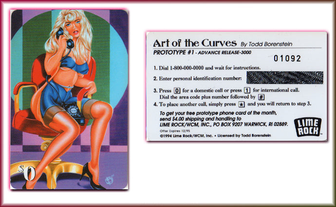 The Art of Curves - Todd Borenstein - 4 Card Phone Card Set - Matching Numbers
