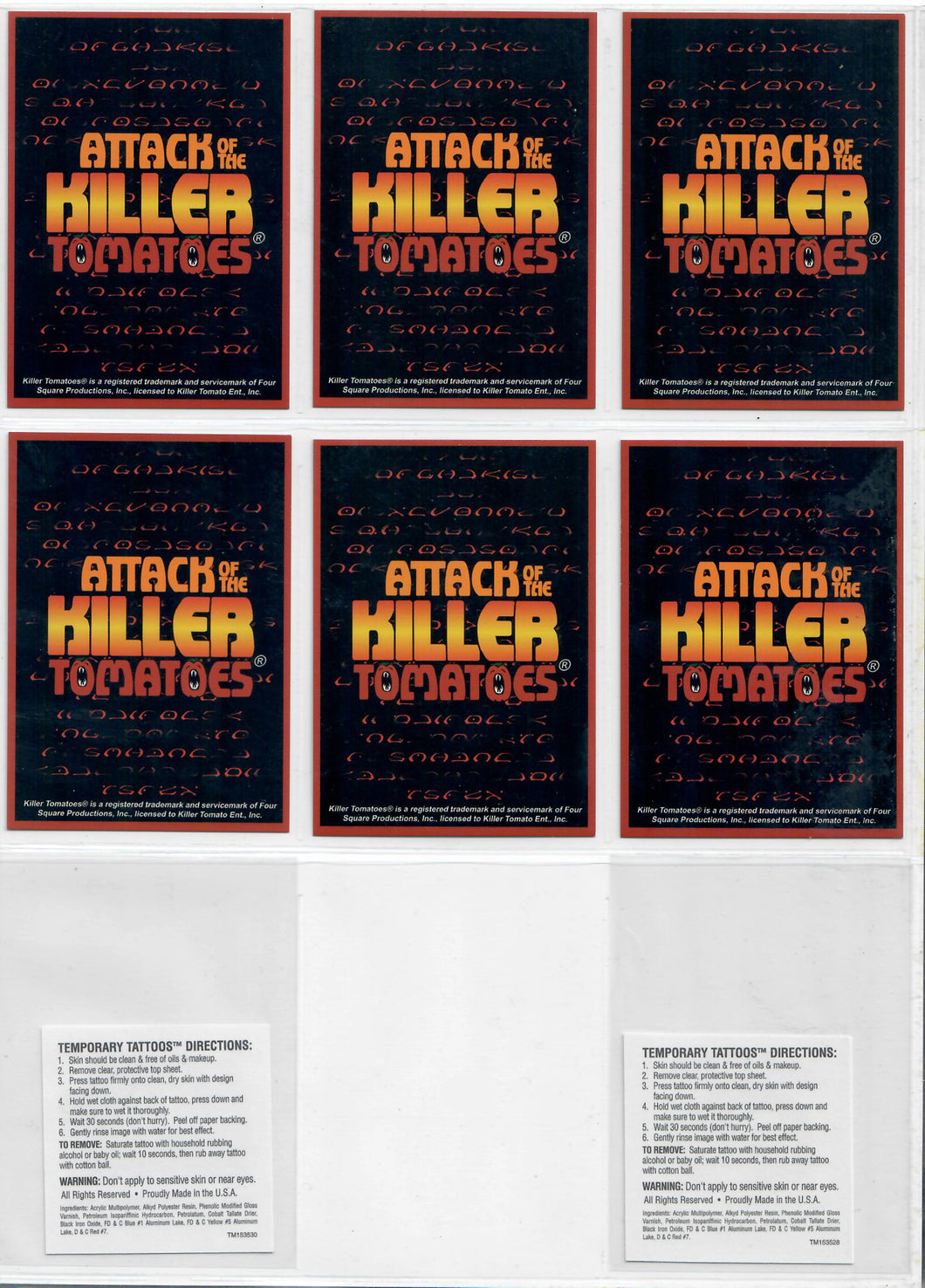 Attack of the Killer Tomatoes - 6 Card Promo Set - w/2 Temporary Tattoes