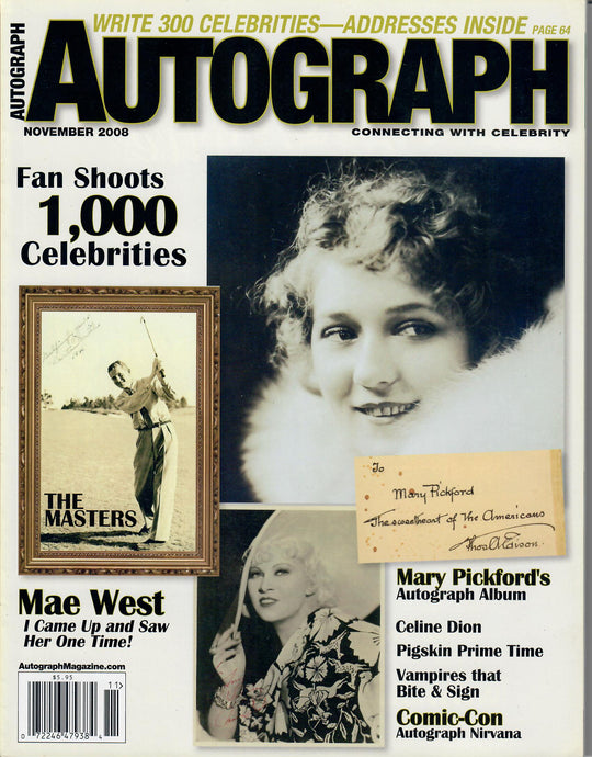 AUTOGRAPH Magazine - November 2008 - Mae West