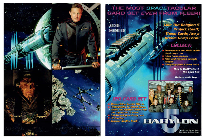 Babylon 5 - Jumbo 5x7 - 4 Card Silver Foil Uncut Promo Card Panel - Spacetacular Card Set