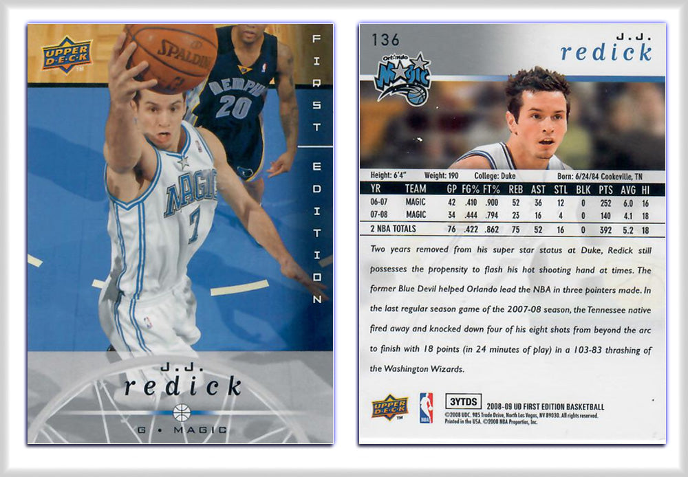 UpperDeck - 2008-09 Basketball - First Edition Premium - Card 136 - J.J. Redick