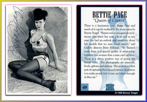 BUNNY YEAGER - Autographed Card - Bettie Page - Queen of Curves - Card 49