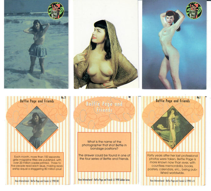 Bettit Page and Friends - Keva International - 3 Base Card Lot (Set Never Released)