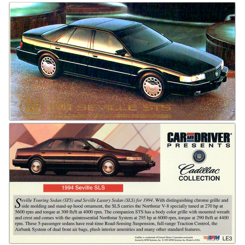 Cadillac Art Collection - Gold Foil Limited Edition Card - LE3 - 1994 SeVille SLS