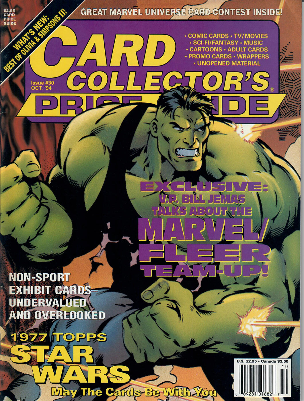 Card Collector's Price Guide - October 1994 Issue #30 - Non-Sports Trading Cards Guide