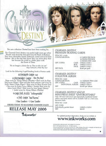 Sell Sheet - CHARMED - DESTINY Premium Trading Cards  - Inkworks - Counter Slick