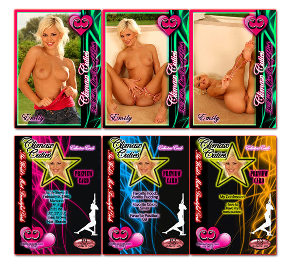 Climax Cards - Cuties 3 Card Preview Promo Set P1 - P3 - EMILY STEWART