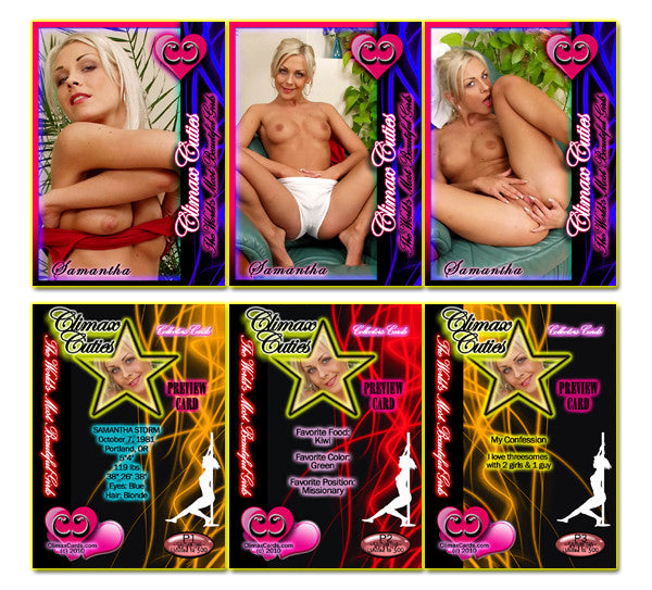 Climax Cards - Cuties 3 Card Preview Promo Set P1 - P3 - SAMANTHA STORM