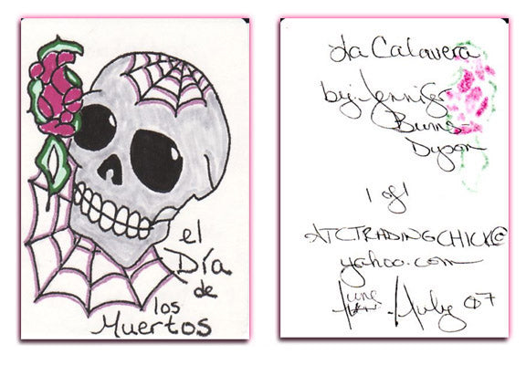 ACEO Original - LA CALAVERA - Day of the Dead - Jennifer Burns-Dyson