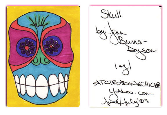 ACEO Original - SKULL - Day of the Dead - Jennifer Burns-Dyson