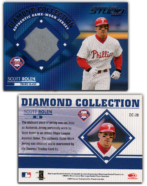 2001 Baseball Donruss - Diamond Collection - WORN JERSEY - Scott Rolen - DC-28