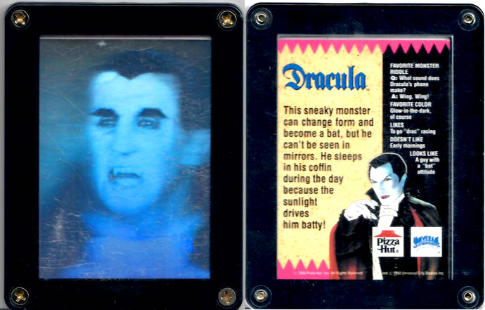 Dracula - Universal Studios - Pizza Hut - Hologram Promo Card - in Screwdown Case