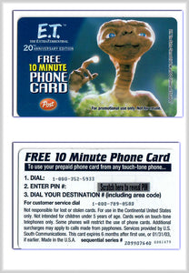 E.T. Movie - Free 10 Minute Phone Card - Unused/UnScratched - E.T. Phone Home POST