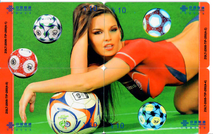 Eve Angel - 4 Card Phone Card Set - Sexy Football/Soccer