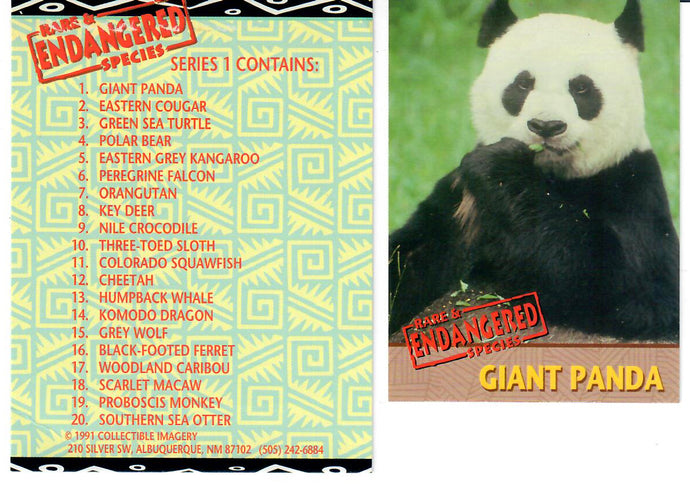 Endangered Species - Complete 20 Card Proof Edition Set - w/ Checklist Card