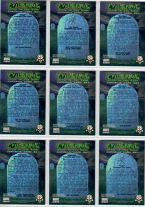 Evil Ernie - Glow in the Dark - Chromium - Complete 100 Card Base Set - Featuring Lady Death - In Pages