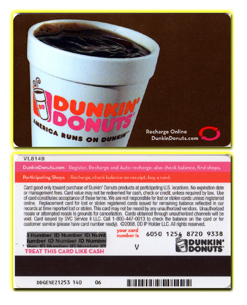 Dunkin' Donuts - America Runs on Dunkin' Coffee Cup - Gift Card