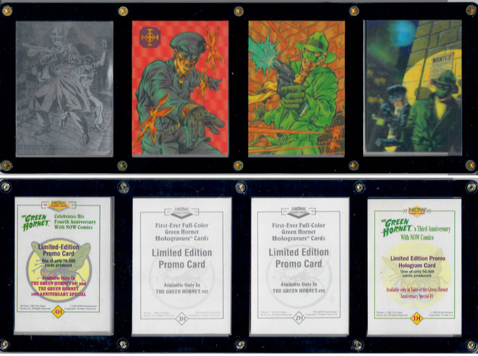 Green Hornet - 4 Card Hologram Set - NOW Comics - 1H - 4H - in 4 Card Panel Case