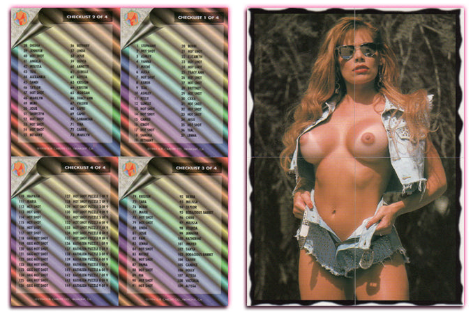 Hot Shots - Dare to Bare - Complete 4 Card Checklist Set - Melissa Wolf Puzzle Back - RAW - No Scratch off Material
