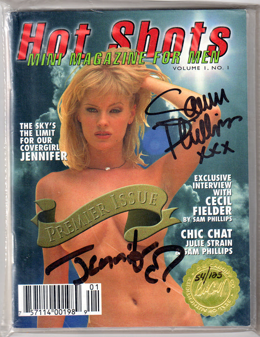 Hot Shots - Mini Magazine - Volume I Number 1 - Gold Foil Limited Edition w/ 4 Autographs & Julie Strain Card