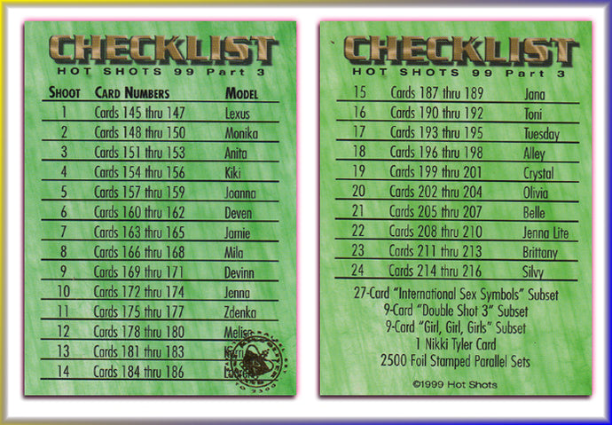 Hot Shots - '99 Trilogy Part 3 - Gold Foil PARALLEL Checklist Card