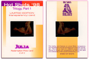Hot Shots - '98 Trilogy Part 1 - Julia Hayes 3 card Transparency Set - Autographed