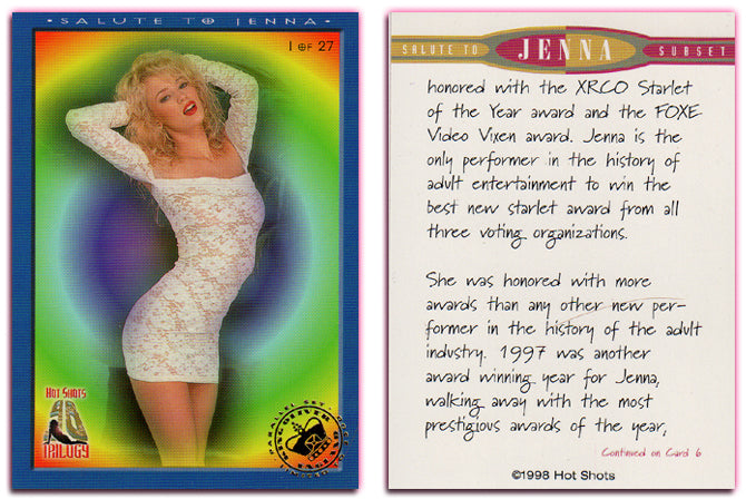 Hot Shots - '98 Trilogy Part 1 - Complete 27 Card Jenna Jameson Set - Gold Foil PARALLEL Card Set