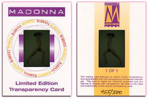 Hot Shots - '98 Trilogy Part 1 - MADONNA - Transparency Card -  Very Rare HTF
