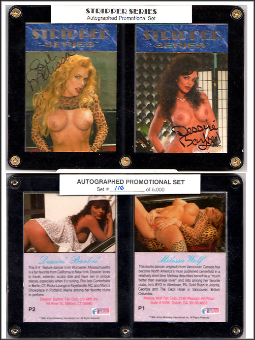 HUSTLER - STRIPPER SERIES - Encased 2 Card Autographed Promo Set - Melissa Wolf & Desiree Barbre #116/5000