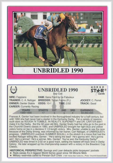 Horse Stars - Unbridled 1990 - FAPPIANO - Promo Card 116 - Horse Racing