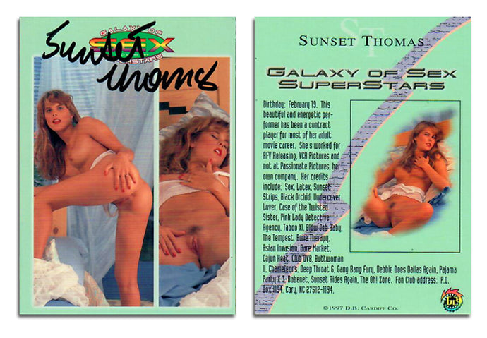 Hot Shots - Galaxy of Sex Superstars - Sunset Thomas - Autographed Card #62
